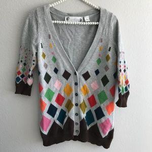 Ingrid Hass Multi Colored Diamond Cardigan Sweater
